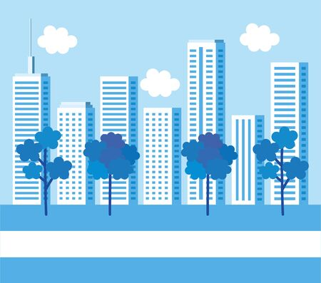 park with cityscape background vector illustration design Ilustrace