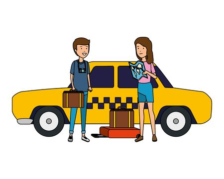 tourist couple with suitcases in taxi characters vector illustration design Standard-Bild - 127588117
