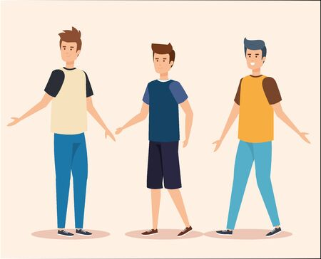 set nice boys with hairstyle and casual clothes vector illustration  イラスト・ベクター素材