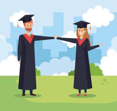 happy man and woman university friends with graduation rope vector illustration Ilustração