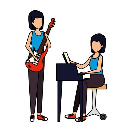 women playing grand piano and guitar electric vector illustration design Stock Illustratie