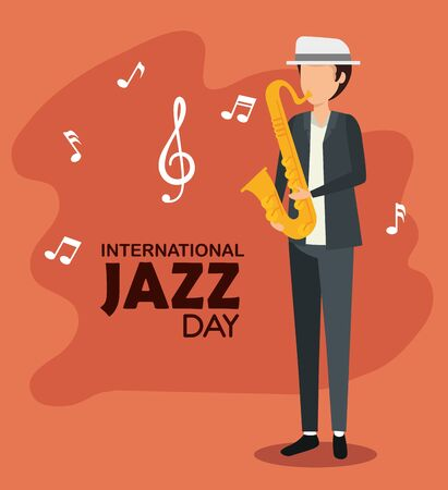 man play saxophone with music notes vector illustration