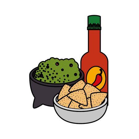 guacamole sauce with nachos and hot sauce vector illustration design Illustration