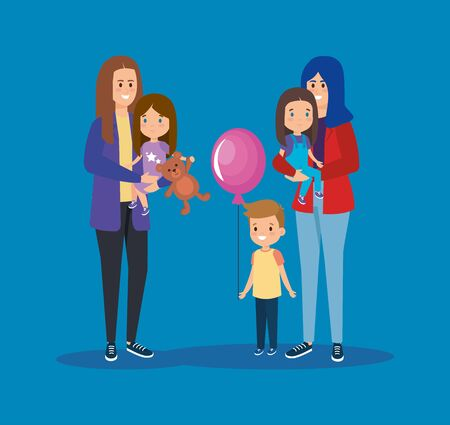 happy mothers friends with their daughter and son vector illustration