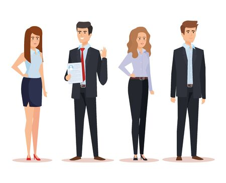set professional businesspeople with executive documents vector illustration Vector Illustration