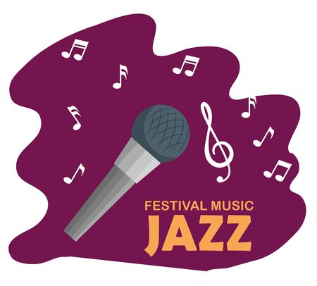 microphone with music notes to jazz day vector illustration