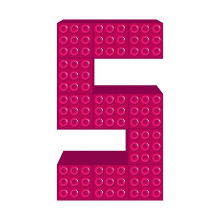 number five with toy pieces vector illustration design