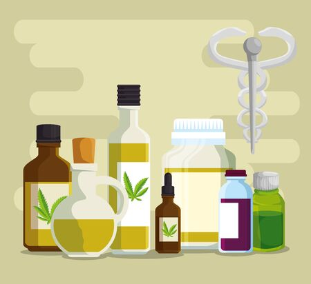nature oil cannabis crystal bottles with medicine sign vector illustration