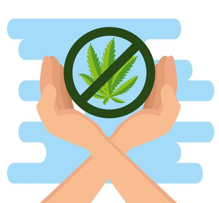 hands with nature cannabis plant and prohibited sign vector illustration