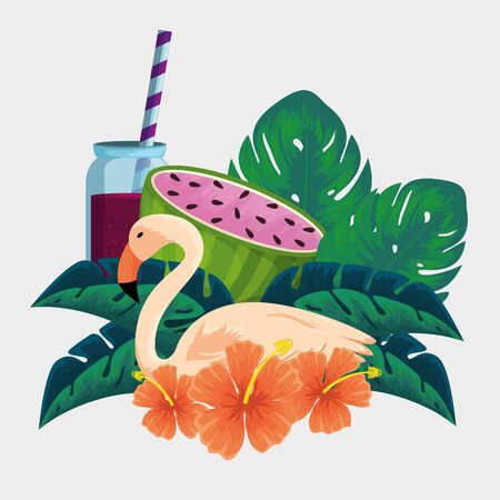 flamish animal with watermelon fruit and beverage vector illustration  イラスト・ベクター素材
