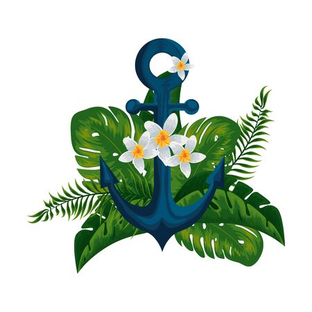 heliconia flower tropical plant with leafs and anchor vector illustration design