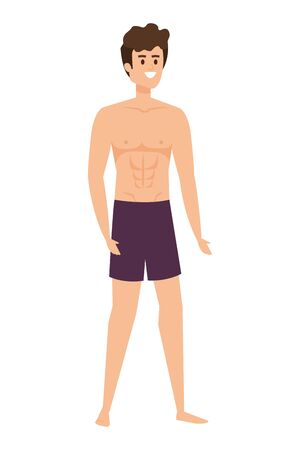 young man with swimsuit avatar character vector illustration design