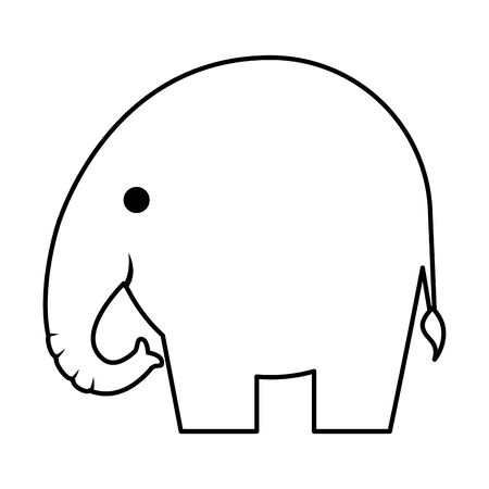 cute little elephant silhouette icon vector illustration design 向量圖像