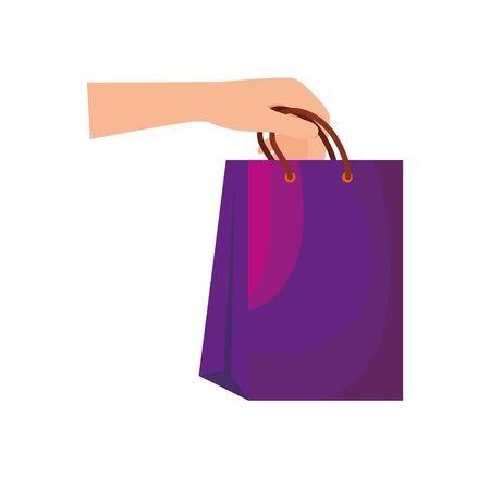 hand lifting shopping bag icon vector illustration design