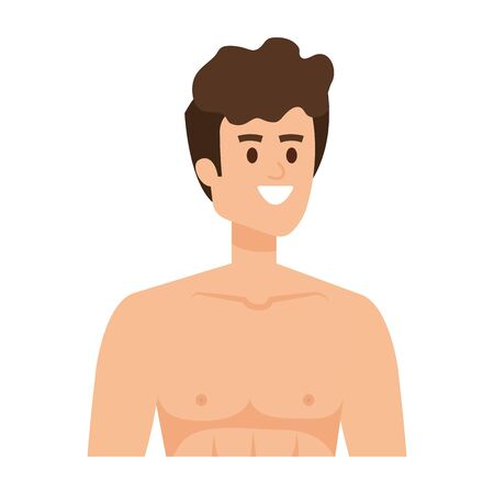 young man shirtless avatar character vector illustration design