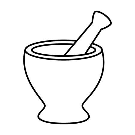 Molinillo de píldoras manejar icono de herramienta diseño ilustración vectorial
