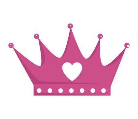 crown queen with heart icon vector illustration design 向量圖像