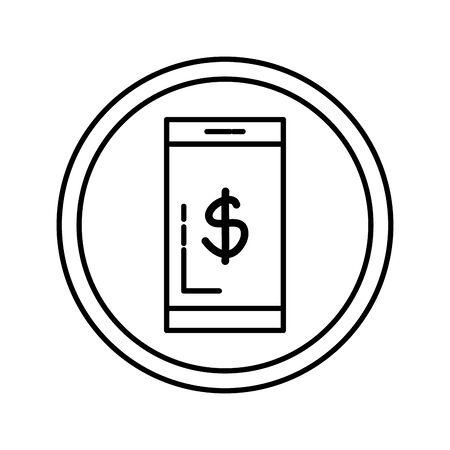 smartphone with dollar symbol vector illustration design