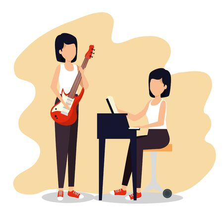 women play music instrument to jazz festival vector illustration