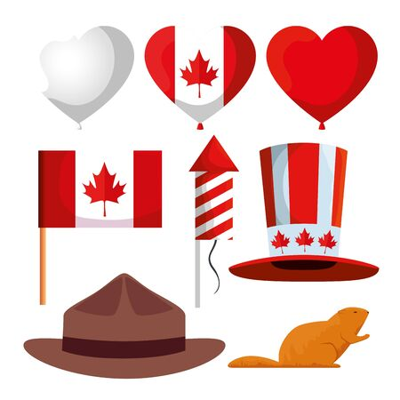 set of canada celebration holiday with ballooons and flag vector illustration Vecteurs