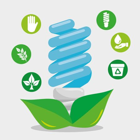 save bulb with leaves and ecology element vector illustration 向量圖像