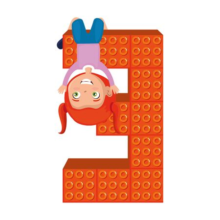 little girl with number three and toy pieces vector illustration design Stock Illustratie