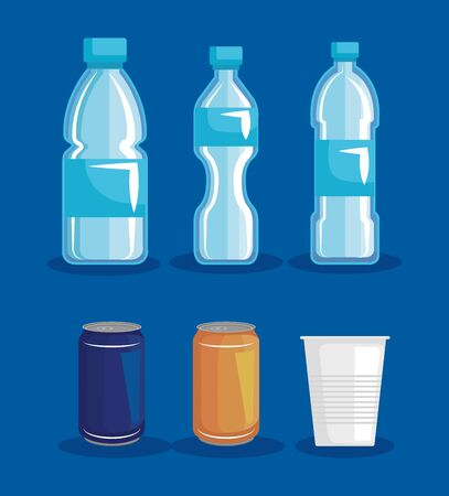 set toxic plastic bottles with cup and cans waste vector illustration