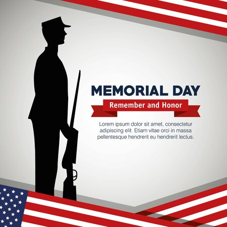 soldier with rifle to celebrate memorial day vector illustration