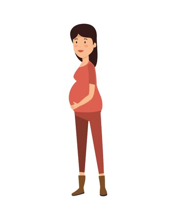 woman pregnancy avatar character vector illustration design