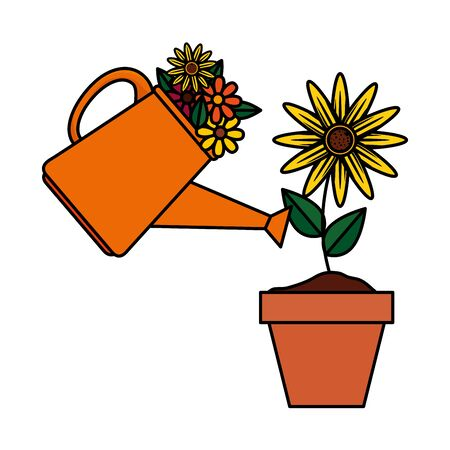sprinkler pot with flowers and sunflower vector illustration design