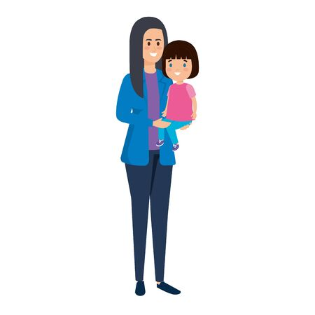 young mother with little daughter vector illustration design Standard-Bild - 128927797