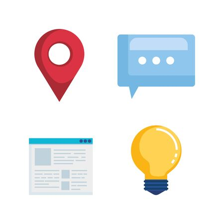 set of location sign with chat bubble and document information vector illustration