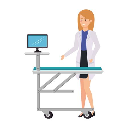 female doctor with monitor in stretcher vector illustration design