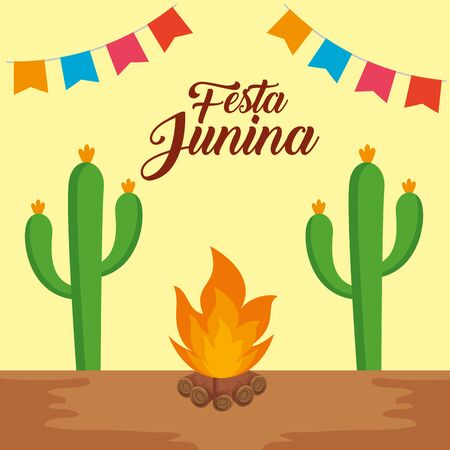 party banner with cactus plant and wood fire vector illustration Ilustração