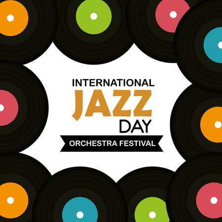 vinyl discs to jazz international day vector illustration