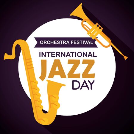 saxophone with trumpet and label to jazz day vector illustration Иллюстрация