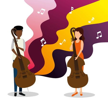 man and woman play cello to jazz day vector illustration