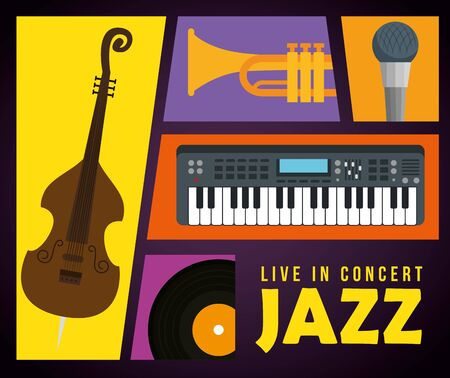 set instruments to international jazz day vector illustration