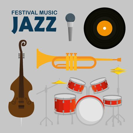 set jazz music day with music instruments vector illustration