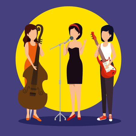 women play instrument to jazz day vector illustration