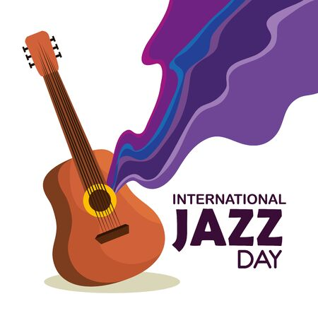 guitar instrument to international jazz day vector illustration Stock Illustratie