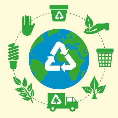 earth planet with ecology recycle sign vector illustration