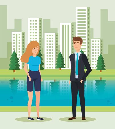 woman and man talking near to river and buildings vector illustration Standard-Bild - 128928116