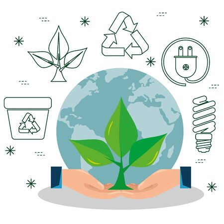 plant with leaves in the hands with ecological element vector illustration