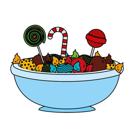 bowl glass with sweet candies variety vector illustration design Illustration