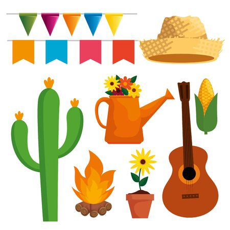 set festa junina celebration with party decoration vector illustration Banque d'images - 127731651