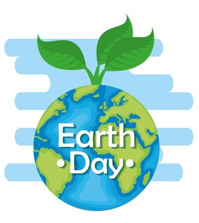 planet with plant and leaves to earth day vector illustration