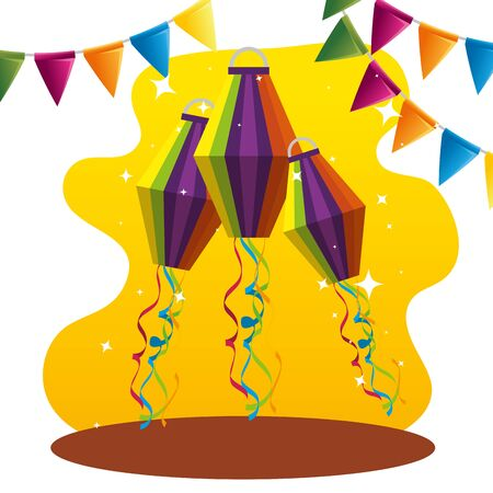 party banner with lanterns decoration to festival vector illustration