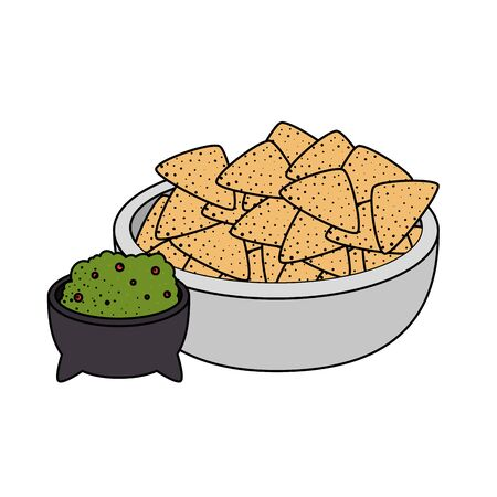 guacamole sauce with hachos vector illustration design