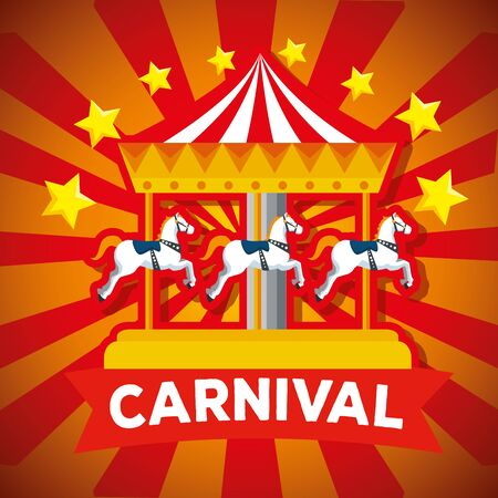 carnival merry go round and stars with ribbon decoration vector illustration Ilustracja